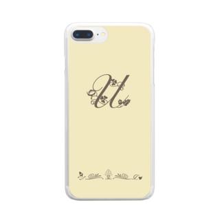 アルファベット イニシャル ボタニカル クリーム U #200 Clear Smartphone Case