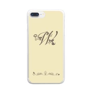 アルファベット イニシャル ボタニカル クリーム W #202 Clear Smartphone Case