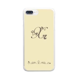 アルファベット イニシャル ボタニカル クリーム X #203 Clear Smartphone Case