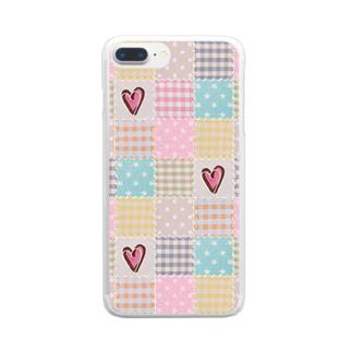 ミルキーパッチワーク風♡(ハート♡) Clear smartphone cases