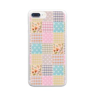 ミルキーパッチワーク風♡(花) Clear smartphone cases