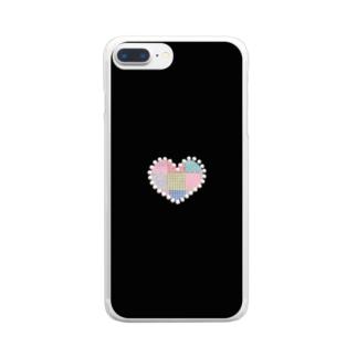 パールハートのパッチワーク&ブラック♪ Clear smartphone cases