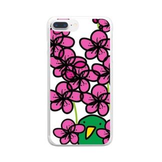 梅とトリ Clear smartphone cases