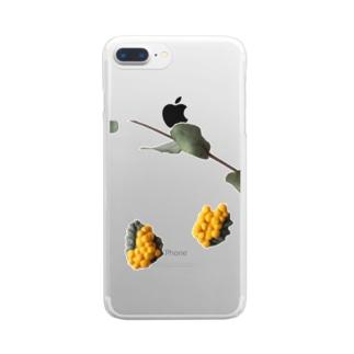 陶土ミモザ&ユーカリ  Clear smartphone cases