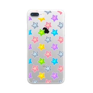 ☆カラフルつやつや星柄☆ Clear smartphone cases