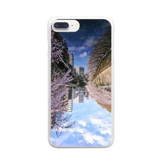 桜降る川空へ。 Clear smartphone cases