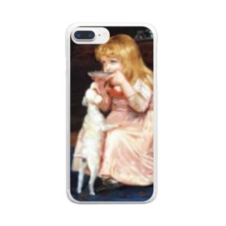 犬のエサ横取り少女 西洋画 Clear smartphone cases