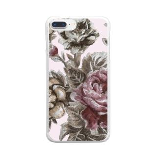 アンティークローズ♡ Clear smartphone cases