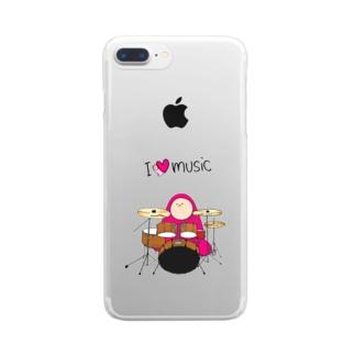 I LOVE MUSIC - アイラヴミュージック ドラムVer. Clear smartphone cases