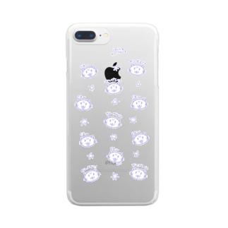がんばるじょ ねこ(ちらし・むらさき) Clear smartphone cases