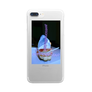 awesomelifedayoの(新)あの子の残したプリン Clear smartphone cases