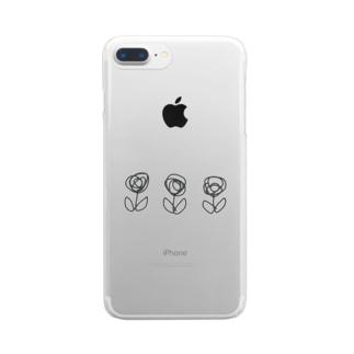 いたずら書き風なお花 Clear smartphone cases