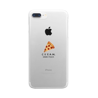 DAMN PIZZA (淡色用) Clear smartphone cases