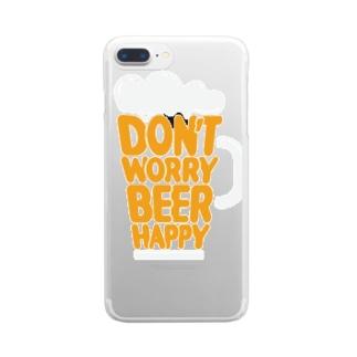 ドンウォーリービールハッピー オレンジ白 Clear smartphone cases