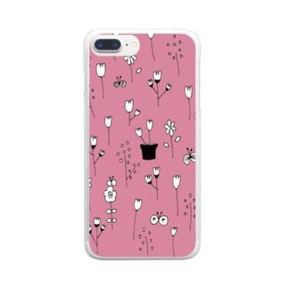 北欧フラワーガーデン【くすみピンク】 Clear smartphone cases