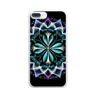 静謐﹣点描曼荼羅 Clear smartphone cases