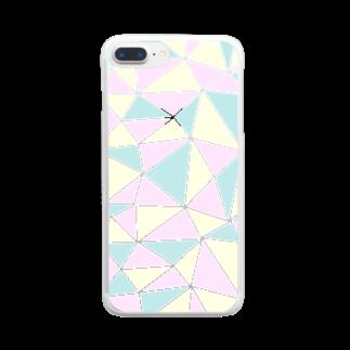 ○△□のstained glass - pastel Clear smartphone cases