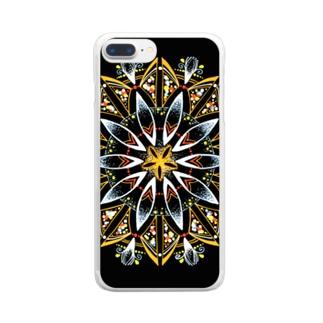 オレンジシャーベット﹣点描曼荼羅 Clear smartphone cases