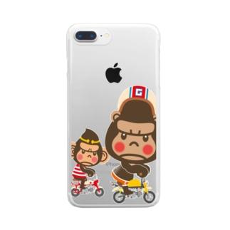 """ぽっこりゴリラ""""Motor cycle -  gorilla & monkey"""" Clear smartphone cases"""