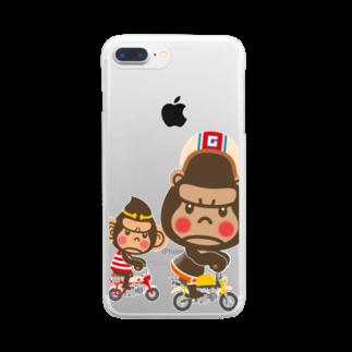 """ザ・ワタナバッフルのぽっこりゴリラ""""Motor cycle -  gorilla & monkey"""" Clear smartphone cases"""