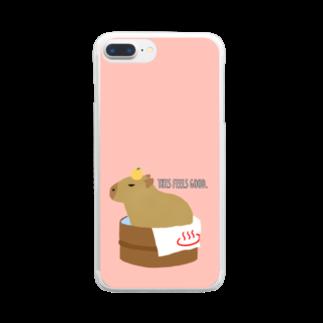 もんたろうの桶風呂に入ったカピバラ Clear smartphone cases