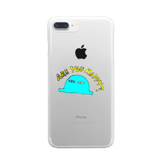ema ショップの癒し 謎の生物 ロゴ ARE YOU HAPPY? Clear smartphone cases