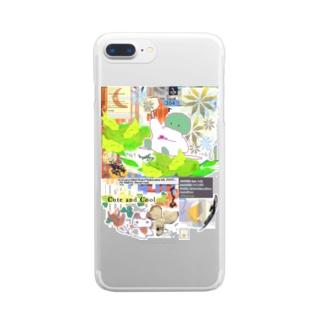 304★月山いつこ作品●雪空■緑の2 Clear smartphone cases