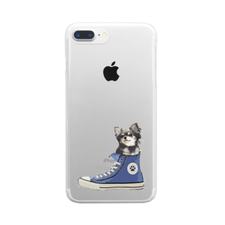 犬グッズの店しえるぶるーのスニーカーにすっぽり入ったチワワ(ブラックタン・青) Clear smartphone cases