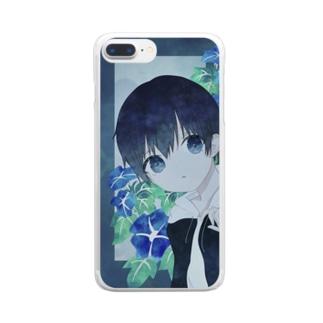 アサガオと男の子 Clear smartphone cases