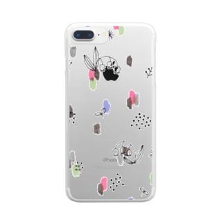 水彩&線画すずらん【シンプル】 Clear smartphone cases