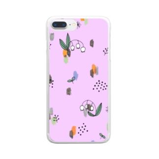 水彩&線画すずらん【ライラック】 Clear smartphone cases