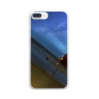 きれいな星と海 Clear smartphone cases