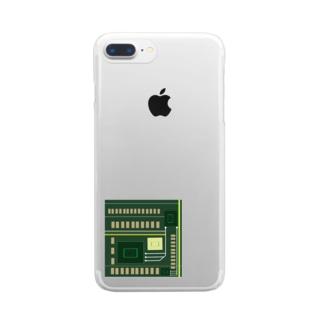 理系 基盤丸見え Clear smartphone cases
