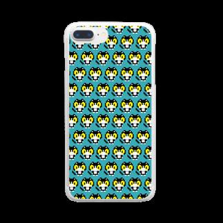 やぶのやぶねこドット(ターコイズブルー) Clear smartphone cases