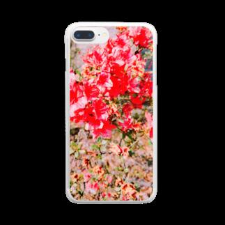 ねむいさかなのお店の枯れ赤ツツジ Clear smartphone cases