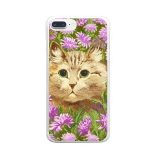 花々にうずもれたネコ Clear smartphone cases