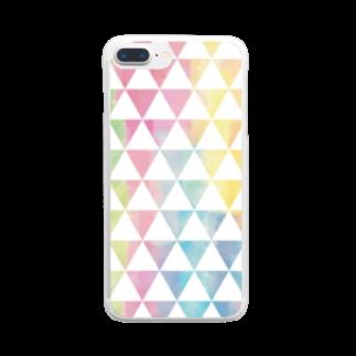ぴーこっくのカラフルサンカク Clear smartphone cases