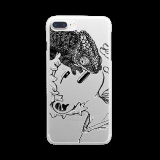 びりぃおんのカメレオン Clear smartphone cases