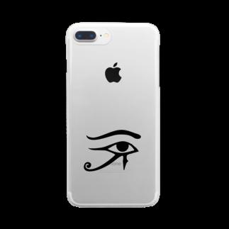 かもラグのラクかものホルスの目 Clear smartphone cases
