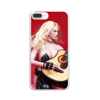 FUCHSGOLDのドール写真:ギターを弾くブロンドの美少女 Doll picture: Blonde girl plays a guitar Clear smartphone cases