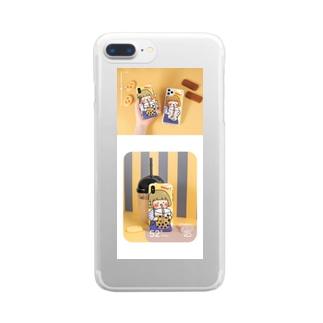 女の子の飲む イラスト かわいいiPhone 11/XSケース Clear smartphone cases