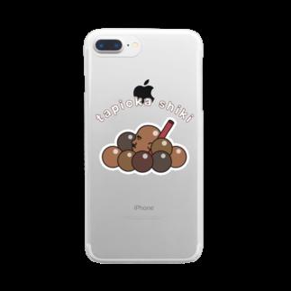 グラフィンのタピオカ?たぴ岡?正岡子規? 白フチ Clear smartphone cases