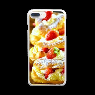 フラミンゴ洋裁店のイチゴとクリーム Clear smartphone cases