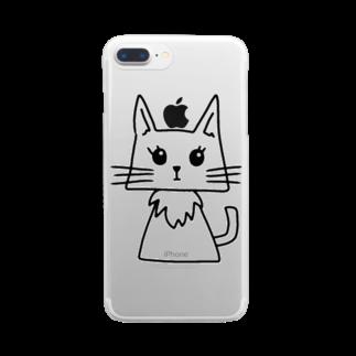 みつまめこshopのにゃんちゃん Clear smartphone cases