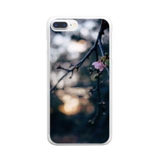 夕暮れの桜 Clear smartphone cases
