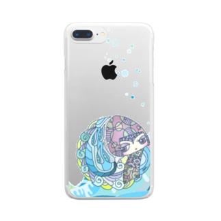 ブルーこけし Clear smartphone cases