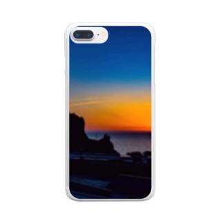 日本海の夕陽、由良温泉 Clear smartphone cases