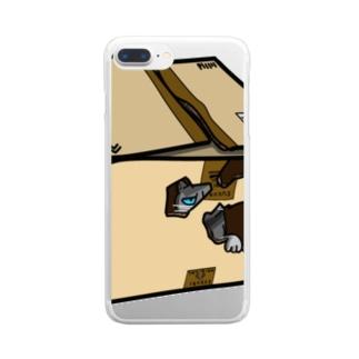 ダンボールの中のギン Clear smartphone cases