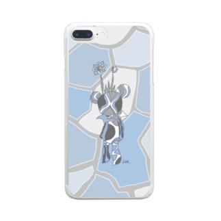 青いくまの王 Clear smartphone cases