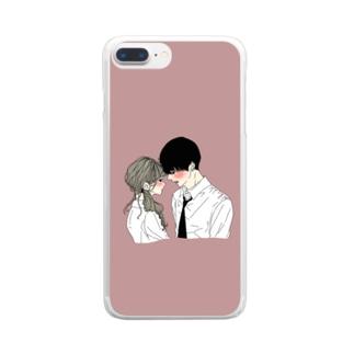 カップルスマホケース くすみレッド Clear smartphone cases